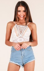 Explorer At Heart crop top in white lace