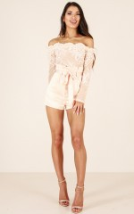 Sweet Little Lies playsuit in gold lace