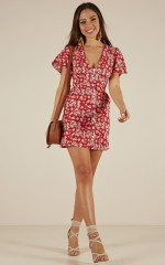 Across The Sea dress in red floral