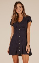 Chinese Whispers dress in navy linen look