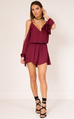 Cant Believe playsuit in wine