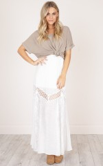 Baby Dont Worry maxi skirt in white lace