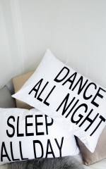 All Day All Night pillow case set in white and black