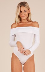 About That Drama Bodysuit in white
