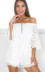 Against The Tide playsuit in white lace