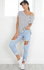 Back To Basics top in white stripe