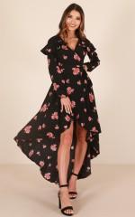Break Free Maxi Dress in Black Floral
