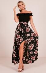 Breath Of Fresh Air maxi skirt in black floral