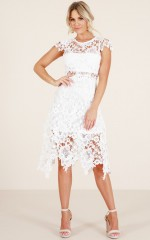 Not A Bad Thing dress in white crochet