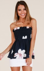 By Now top in navy floral