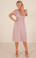 Cloud Kicker dress in mocha polka dot