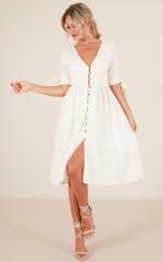 Cold Heart dress in cream linen look