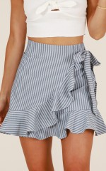 Come Closer skirt in grey stripe