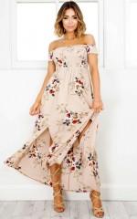 Daytime Dancer maxi dress in mocha floral
