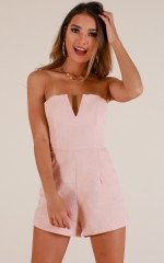 Feeling Ecstatic playsuit in blush linen look