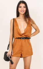 For The Record playsuit in rust