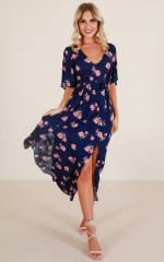 Forever Young maxi dress in navy floral