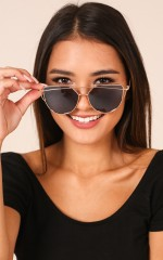 Glowing sunglasses in gold