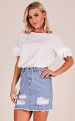 He Loves Me top in white