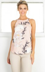 High Roller top in blush floral
