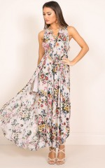 Intoxicate Me maxi dress in beige floral