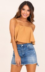 Just A Girl crop top in toffee