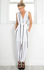 Little Less Conversation dress in white stripe