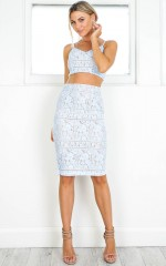 Love And Hate two piece set in blue lace