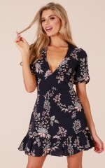 Making It Down dress in navy floral