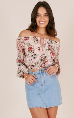 Nearly There crop top in pink floral