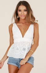 Need Your Love top in white