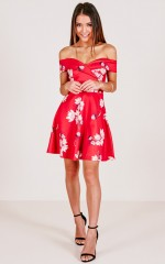 Never Let Go Dress in Red Floral
