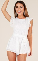 Oh My Heart Playsuit in White