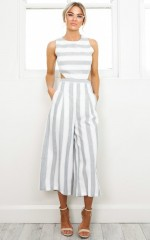 Out Dream Yourself jumpsuit in grey stripe  linen look