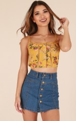Pretty Lady top in mustard floral