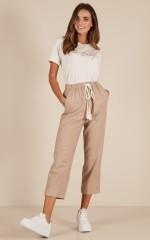 Pure Love pants in beige linen look
