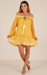 Reach For The Sun dress in mustard