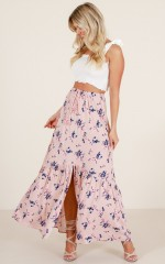 Reckless Romance maxi skirt in blush floral