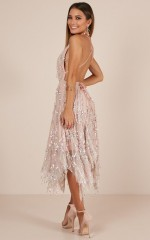 Join The Party dress in nude sequin