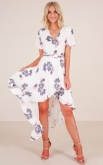 Roseville Maxi Dress in White Floral