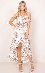 Screen Time dress in cream floral