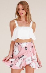 Sipping Sangria crop top in white