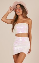 So Extra Two Piece Set in Pink Sequin
