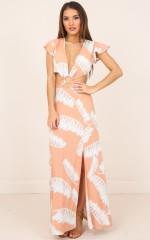 South Beach maxi dress in beige print