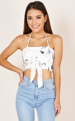 Start Over top in white floral