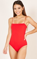 Stitched You Up bodysuit in red
