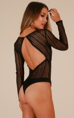 Straight To My Heart bodysuit in black lace