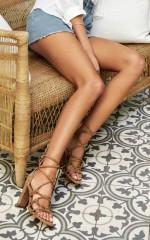 Showpo x Billini - Tanami Heels in stone micro
