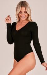 The Final Stretch Bodysuit in black