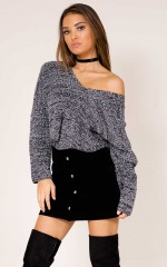 Thick As Thieves knit top in charcoal marle